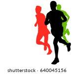 marathon runners with copy... | Shutterstock .eps vector #640045156