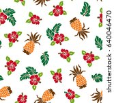 hibiscus and pineapple pattern | Shutterstock .eps vector #640046470