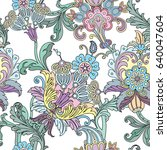 seamless pattern with floral... | Shutterstock .eps vector #640047604