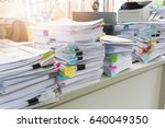 pile of unfinished documents on ... | Shutterstock . vector #640049350