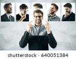 young european man hiding... | Shutterstock . vector #640051384