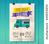 food truck festival poster on... | Shutterstock .eps vector #640055854