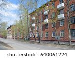 four story brick apartment... | Shutterstock . vector #640061224