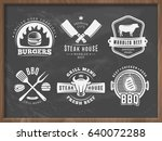 bbq  burger  grill badges. set... | Shutterstock .eps vector #640072288