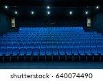 empty blue cinema seats  chairs.... | Shutterstock . vector #640074490