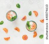 blood orange fresh summer... | Shutterstock . vector #640074610