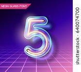retro neon glowing glass... | Shutterstock .eps vector #640074700