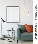 mock up posters in living room... | Shutterstock . vector #640076158