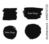 set of black shapes with paint... | Shutterstock .eps vector #640076710