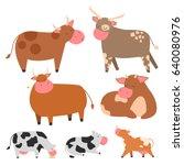 bulls cows farm animal... | Shutterstock .eps vector #640080976