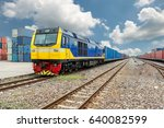 cargo train platform with...   Shutterstock . vector #640082599