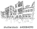 vector sketch of architecture... | Shutterstock .eps vector #640084090