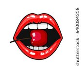 woman red lips with cherry on... | Shutterstock .eps vector #640084258