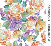 seamless pattern with flowers.... | Shutterstock . vector #640085380