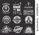 standup comedy show labels and... | Shutterstock . vector #640088614