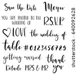 wedding hand drawn letters... | Shutterstock .eps vector #640092628