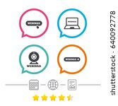 webinar icons. web camera and... | Shutterstock .eps vector #640092778