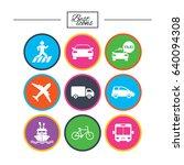 transport icons. car  bike  bus ... | Shutterstock .eps vector #640094308