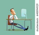 office worke fell asleep at the ... | Shutterstock .eps vector #640094929
