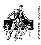 rollerskaters   retro clipart... | Shutterstock .eps vector #64009561