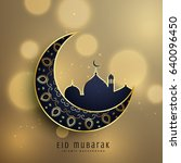 crescent moon and mosque with... | Shutterstock .eps vector #640096450