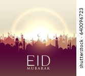 eid mubarak card with mosque... | Shutterstock .eps vector #640096723