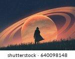 night scene of the man standing ... | Shutterstock . vector #640098148