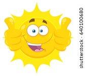 smiling yellow sun cartoon... | Shutterstock .eps vector #640100680