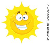 funny yellow sun cartoon emoji... | Shutterstock .eps vector #640100740