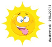 crazy yellow sun cartoon emoji... | Shutterstock .eps vector #640100743