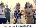 people enjoying live music... | Shutterstock . vector #640101946