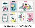 vector set of bright summer... | Shutterstock .eps vector #640104364
