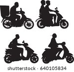 scooter riders silhouettes | Shutterstock .eps vector #640105834