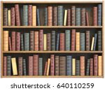 vintage books on bookshelf... | Shutterstock . vector #640110259