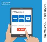 design concept of hotel booking ... | Shutterstock .eps vector #640110904