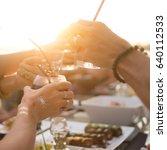 beach summer party cheers hand | Shutterstock . vector #640112533