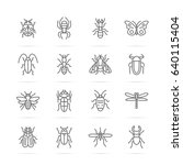 insect vector line icons ...