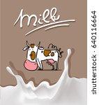 splash milk design with cow... | Shutterstock .eps vector #640116664