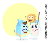 funny family of milk  cookie... | Shutterstock .eps vector #640124080