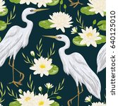 seamless pattern with heron... | Shutterstock .eps vector #640125010