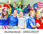 supporters at stadium coming... | Shutterstock . vector #640125019
