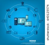 webinar illustration. online... | Shutterstock .eps vector #640125574