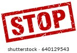 square grunge red stop stamp | Shutterstock .eps vector #640129543