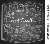 hand drawn food doodles  line... | Shutterstock .eps vector #640131328