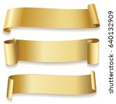 ribbons golden isolated on... | Shutterstock . vector #640132909
