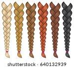 hair braids set vector... | Shutterstock .eps vector #640132939