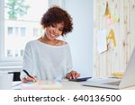 happy woman working at home... | Shutterstock . vector #640136500