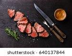 sliced medium rare roast beef... | Shutterstock . vector #640137844