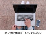 woman's hands using laptop on... | Shutterstock . vector #640141030