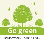 green background with tree and... | Shutterstock .eps vector #640141738